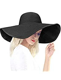 Baonmy Women's Ridge Wide Brim Sun Hat Beachwear Summer Straw Hat