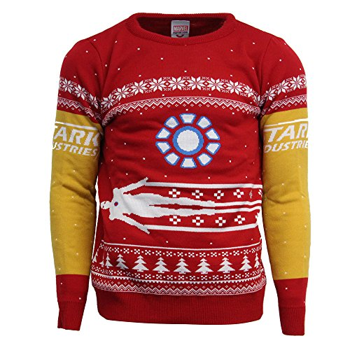 Official Marvel Iron Man Christmas Jumper/Ugly Sweater - UK M/US S (Jumpers Christmas Uk Cheap)
