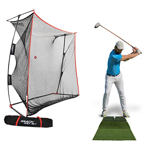 Rukket 9x7x3ft Haack Golf Net Pro | Practice Driving Indoor and Outdoor | Professional Golfing at Home Swing Training Aids | by SEC Coach Chris Haack (Haack Golf Net Pro + XL Hitting Mat)