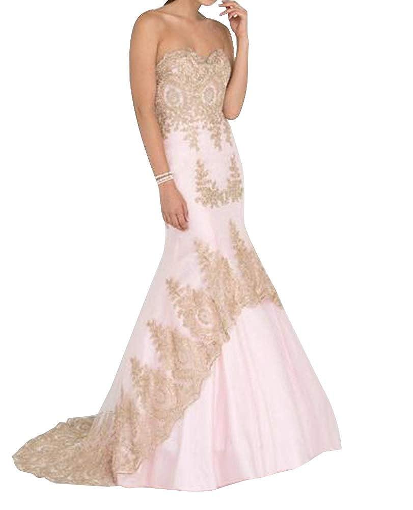 bluesh Homdor Mermaid Prom Dresses Long Applique Sweetheart Strapless Evening Formal Gowns