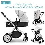 Hot Mom Multi 2 in 1 Pushchair Travel System with winterkit, Grey