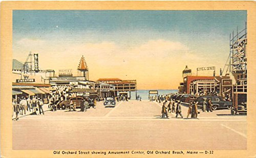 Old Orchard Street showing Amusement Center Old Orchard Beach, Maine, ME, USA Postcard Post - Town Center Orchard