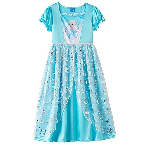 Disney Frozen Elsa Sparkle Dress-Up Long Sleeve Nightgown L(10/12) Blue (Disney Frozen Gowns)