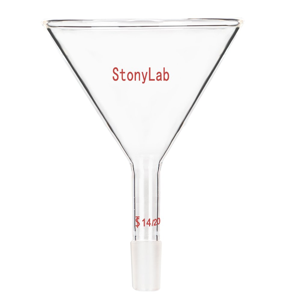 StonyLab Glass Short Stem Powder Funnel with 100 mm Top O.D. and 14/20 Inner Joint Filter Funnel Glass Funnel by StonyLab
