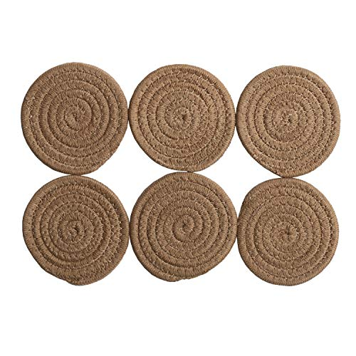 SHACOS Coasters Set of 6 Drink Coaster Cotton Thread Woven Braided Coasters Hot Pads Mats Heat Resistant 4.3 inches (Linen Color) ()