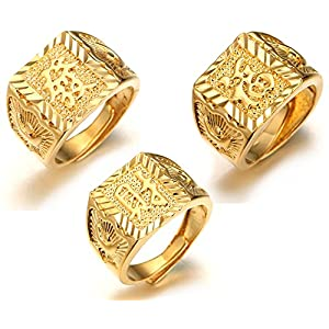 Halukakah ● Gold Bless All ● Men's 18K Gold Plated Dense Diamond Set Kanji Ring Rich/Luck/Wealth Set Size Adjustable with Free Giftbox