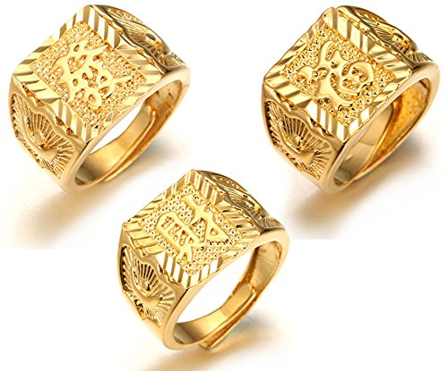 Halukakah ● Gold Bless All ● Men's 18K Gold Plated Kanji Ring Rich+Luck+Wealth Set Size Adjustable with Free GIftbox (Mens Costume Gold Rings)
