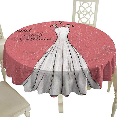 (Bridal Shower Leakproof Polyester Tablecloth Retro Pink Grunge Backdrop Wedding Bride Dress Party Vintage Image Outdoor and Indoor use D59.05 Inch Coral Black and White)