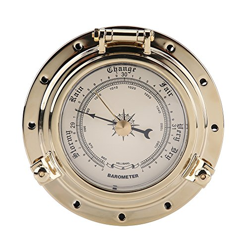 Acouto Rome Retro Barometer Clock Temperature Humidity Meter for Navigation Marine RV Yacht Boat SUV(barometer1)