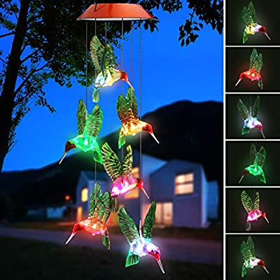 Topspeeder Color-Changing LED Solar Mobile Wind Chime LED Changing Light Color Waterproof Six Hummingbird Wind Chimes for Home Party Night Garden Decoration(Hummingbird)