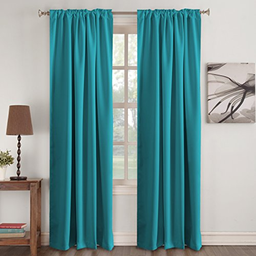 Blackout Curtain Panels - (Teal Blue Color)- Rod Pocket Blackout Draperies for Bedroom Thermal Insulating Living Room Curtain, Noise Reducing Back Tab Blackout Draperies, 52 x 96 Inch, ()