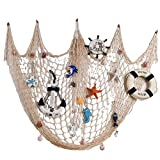 BESTNEWIE Fishing Net Decor, Wall Decor, Decorative Fish Net with Shells, Mediterranean Nautical Style, 79 x 59inch (Creamy White)
