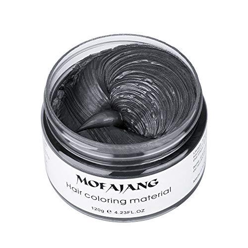 MOFAJANG Hair Color Wax, KooJoee Temporary Hair Dye Easy Wash Hairstyle Cream 4.23 oz Disposable Hair Pomades, Natural Matte Hair Modeling Wax for Party Cosplay Nightclub Masquerades Halloween (Black) ()