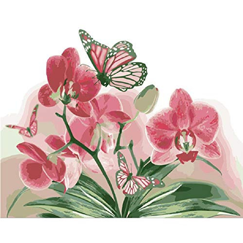 Jigsaw Puzzles 1000 Piece Wooden Puzzle DIY Butterfly and Pink Orchid Flower Wedding Picture Game Toy Home Decoration Art ()