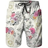 PTYHR Mens Quick Dry Beach Shorts, Butterfly Floral Sugar Skull Swim Trunks, Swim Surfing, Elastic Waist Drawstring Board Shorts, Summer Shorts Wear