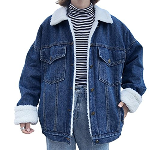 YOUMU Oversize Women's Boyfriend Denim Jacket Loose Casual Thick Lambs Fleece Fur Lining Jean Coat Autumn Winter Spring - Lamb Coat