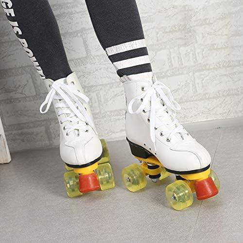 DLY 4 Roues de l'homme Adulte Rouleau Femme Chaussures Patinage Cuir Rouge Blanc de Sports de Plein air,White,45