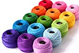 LE PAON Soft 1500Y 15 Pearl Balls Cardinal Size 8 Rainbow Colors for Crochet, Hardanger, Cross Stitch, Needlepoint Hand Embroidery. All Different Colors