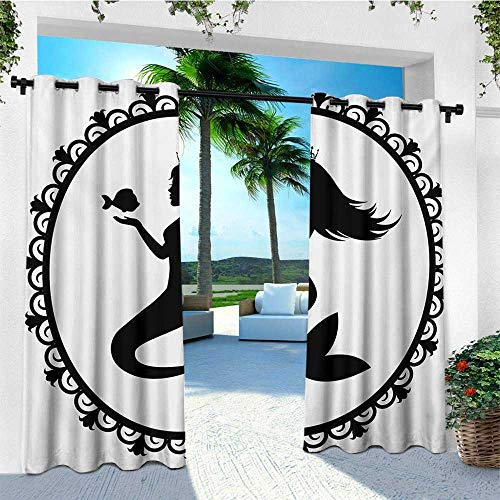 leinuoyi Mermaid, Outdoor Curtain Set of 2 Panels, Vintage Graphic Illustration of a Framed Princess Mermaid with Crown and Fish, for Patio Waterproof W120 x L96 Inch Black White