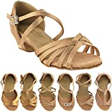 Party Party Girls Ballroom Dance Shoes: 1670CG:Brown Satin:1.5'' Heel:Girls Size 3 1/2