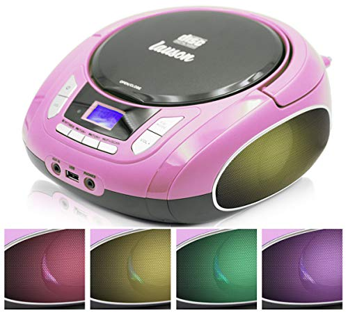 Lauson NXT565 Boombox with Cd Player Mp3   Portable Radio CD-Player Stereo with USB   Cd Player for Kids   LED Light Function   Headphone Jack 3.5mm (Pink)