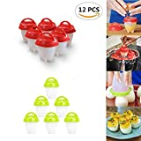 Silicone Egg Cooker Boiler Hard Boiled Eggs without the Shell, Silicone Boiled Poacher Steamer Egg Cups, 12 Pcs