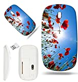 Luxlady Wireless Mouse White Base Travel 2.4G Wireless Mice with USB Receiver, 1000 DPI for notebook, pc, laptop, mac design IMAGE ID: 41081721 Poppy flower in the sky
