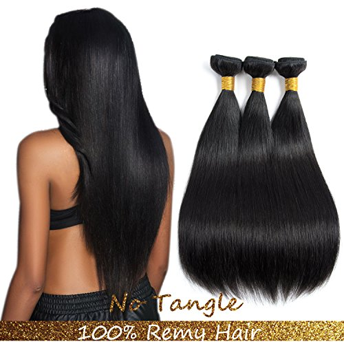 Indian Remy Hair Extensions - 9A Malaysian Human Hair 3Bundles Straight Remy Hair Extensions Human Hair Black Double weft by Lovenea(16 18 20) ...
