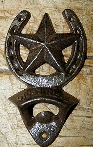 Home Decor Cast Iron Horseshoe Star Plaque Open HERE Beer Bottle Opener Western Wall Mount Perfect for Your Farmhouse ()