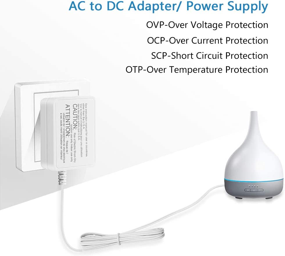 SHNITPWR 24V 0.5A 500mA Power Supply Adapter for Essential Oil Diffuser Aromatherapy Humidifier ETL Listed Class 2 Power Adapter 100V~240V AC to DC 24 Volt 12W Converter 5.5x2.1mm Tip 6ft Power Cord