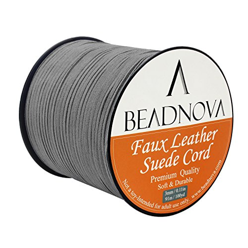 Find Discount BEADNOVA 3mm Faux Suede Cord Flat Lace Leather Cord String 100 yard/roll for Jewelry M...