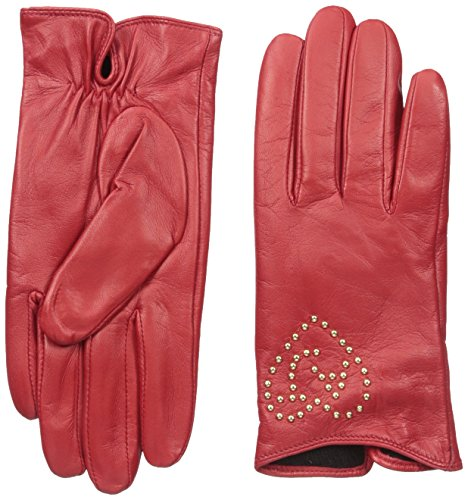 Armani Jeans Women's Leather Gloves with Heart Aj Studs, Tango Red, Small/II