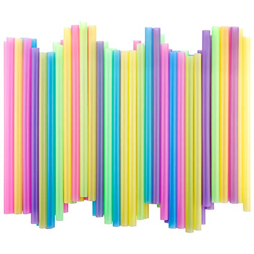 200 Pack Colorful Jumbo Drinking Straws BPA-Free for Smoothies,Cocktail,Milk Shakes,Bubble Pearls Tea and More,Extra Wide 2/5 Inches