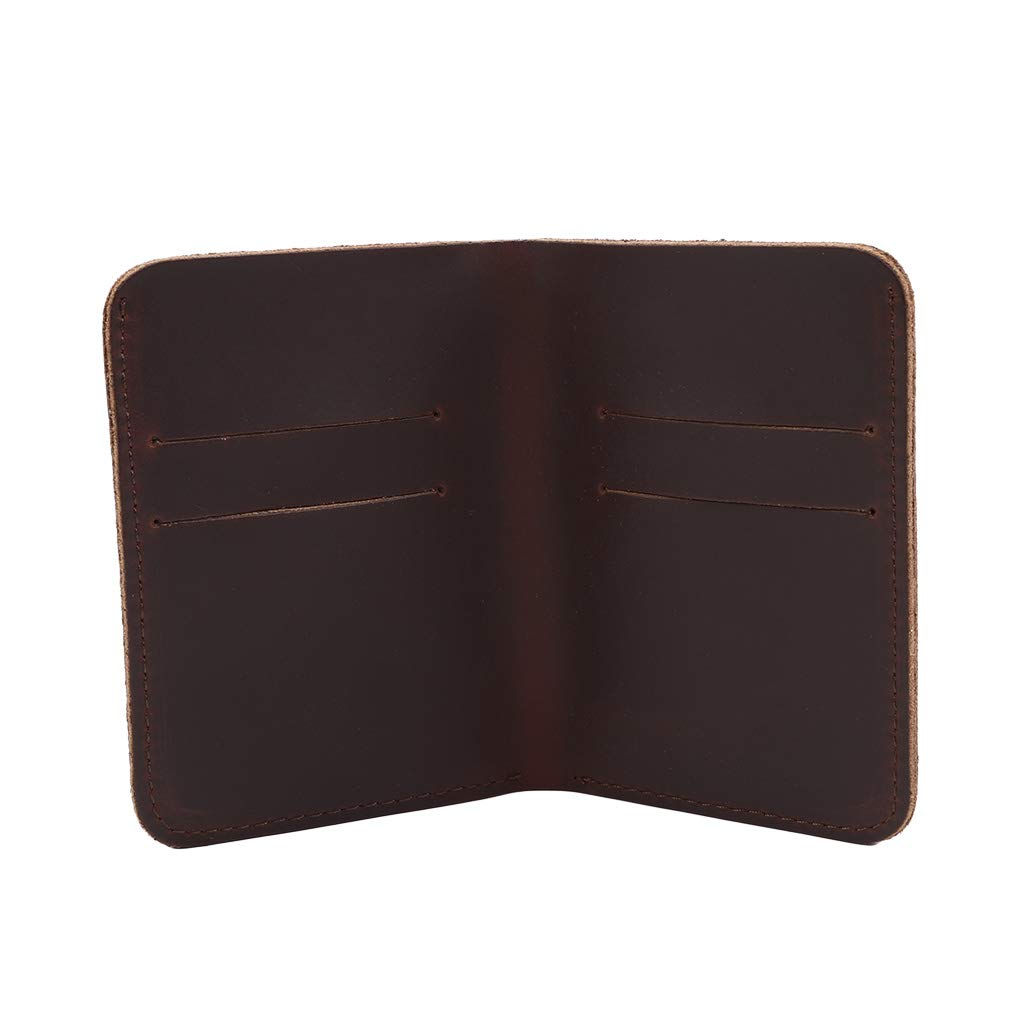 GloryMM Mens Minimalist Leather Wallet Short Card Holder Pocket Wallet Slim Thin Credit Card Case,Dark Brown Cross Section