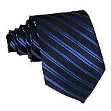 Aivtalk Men Striped Necktie Party Wedding Tie - Dark Blue