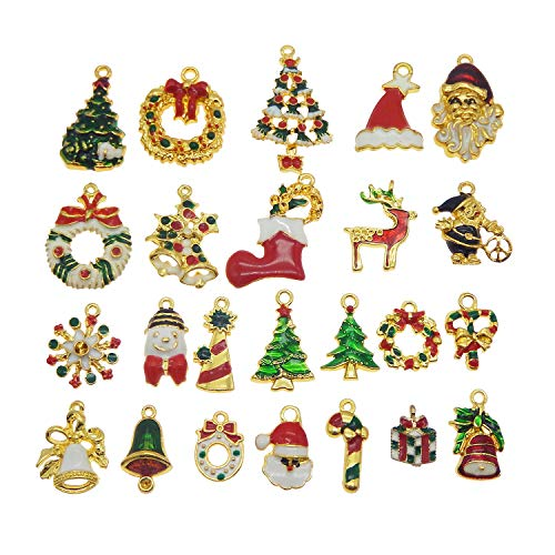 - Julie Wang 30pcs Silver Gold Tone Mixed Enamel Sock Tree Charms for Jewelry Making