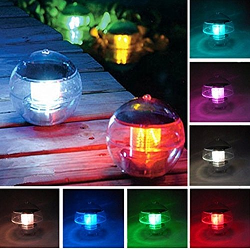 ecbuy outdoor solar waterproof color changing led floating lights ball pond path landscape lamp ball for swimming pool garden and party decor outdoor - Pool Decor