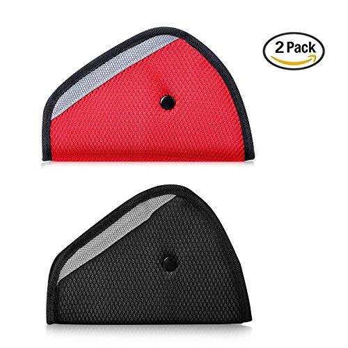 Pack of 2 Seat belt adjusters, Konsait Safety Belt Adjuster Safety Belt Covers Seat Belt Positioner ( Red & Black )