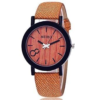 Coconano Relojes Mujer Baratos, Meibo Mo delado de Cuarzo de Ma dera Reloj Para Hombre Reloj de Cuero de Ma dera de Color Informal: Amazon.es: Ropa y ...