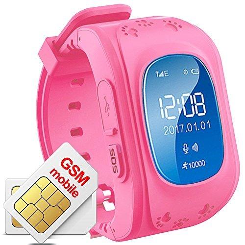 Hangang Reloj para Niños, Reloj Infantil Pulsera Inteligente Localizador Compatible con Smartphones Q50 (Rojo
