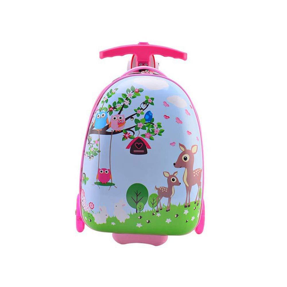 子供ローリング荷物旅行バッグABSスケートボードかわいい漫画スクールバッグ子供スーツケースホイール学生キャビントロリー B07LDBGFWX Pink