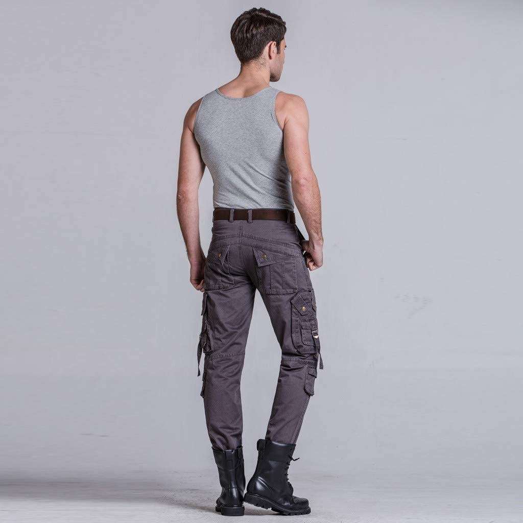 Easytoy Summer Fashion Mid-Rise Mens Longs Loose Casual Multi-Pocket Tooling Pants