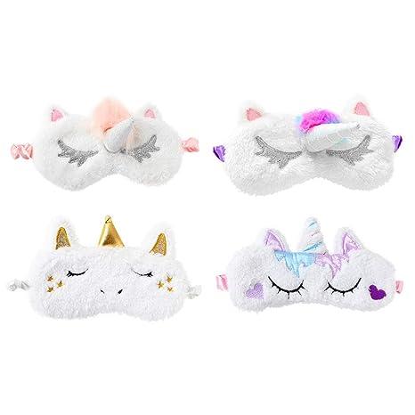 Amazon.com : Lurrose Pack of 4 Plush Unicorn Sleep Eye Mask Cute Eyeshades with Smooth Silk Surface for Sleep : Beauty