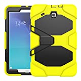 Galaxy Tab E T560 Case, High Impact Hybrid Shock Proof Series Heavy Duty Military Rugged With Kickstand Full Body Protective Case for Samsung Galaxy Tab E T560 9.6 inches [SM-T560] (Yellow)
