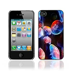 Designer Depo Hard Protection Case for Apple iPhone 4 4S / Cool Neon Jellyfish in Ocean
