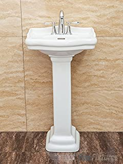 Fine Fixtures, Roosevelt White Pedestal Sink   Vitreous China Ceramic  Material (4 Inch Faucet
