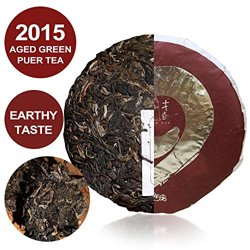 33Cups - Aged Raw Puerh Tea Cake - 100% Natural Sheng Pu erh Tea-Green Puerh Tea - Weight Loss Chinese Puerh Tea-Detox Tea, Slimming Tea-ANTI-OXIDANTS RICH- 100g/3.5oz