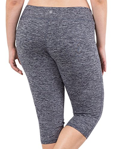 Yoga Reflex Women's Plus Size Active Yoga Running Sports Capris Legging (XL-4XL) , NavyHeather , XXX-Large