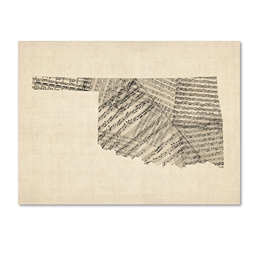 Old Sheet Music Map of Oklahoma by Michael Tompsett, 18x24-Inch Canvas Wall Art ()