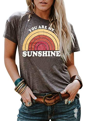 You are My Sunshine T-Shirt Women's Letter Printed Rainbow Graphic Tees Casual O Neck Short Sleeve Tops Size XL (Brown)